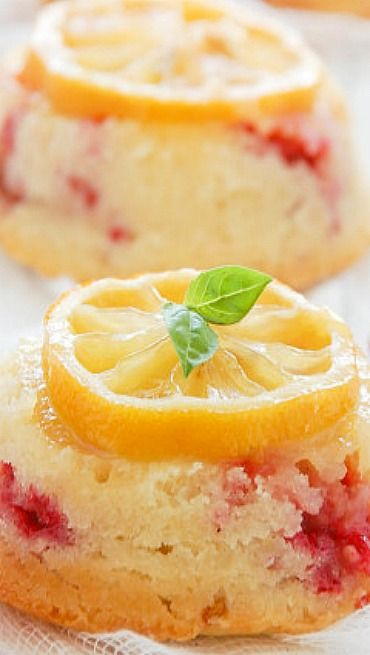 Raspberry Lemon Upside-Down Tea Cakes
