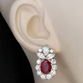 Natural Non-Heated Ruby Diamond Platinum Earrings GIA CERT | From a unique collection of vintage lever-back earrings at http://www.1stdibs.com/jewelry/earrings/lever-back-earrings/
