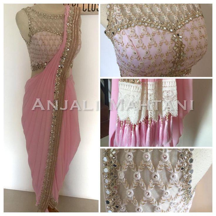 Cotton Candy - embellished sheer top paired with a dhoti saree #lehenga #anarkali #croptop