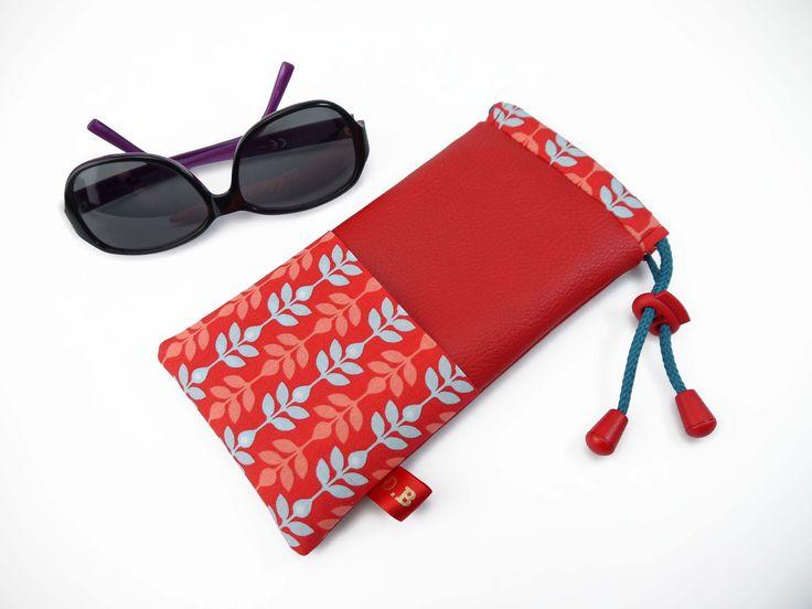 Etuis à lunette femme rouge motif feuille : Etuis, mini sacs par d-balzan