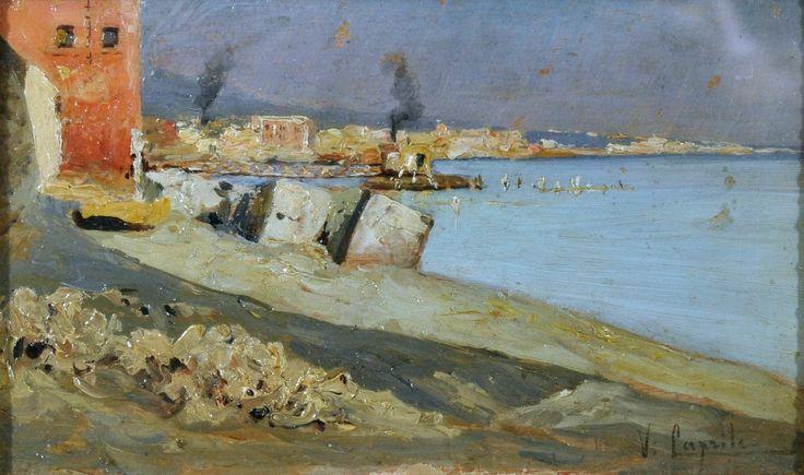 Caprile Vincenzo (Napoli 1856 - 1936) Villa Quercia olio su tavola