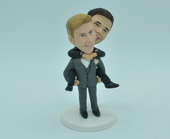 Gay Wedding Toppers same sex cake topper2 by CakeTopperArtStudio