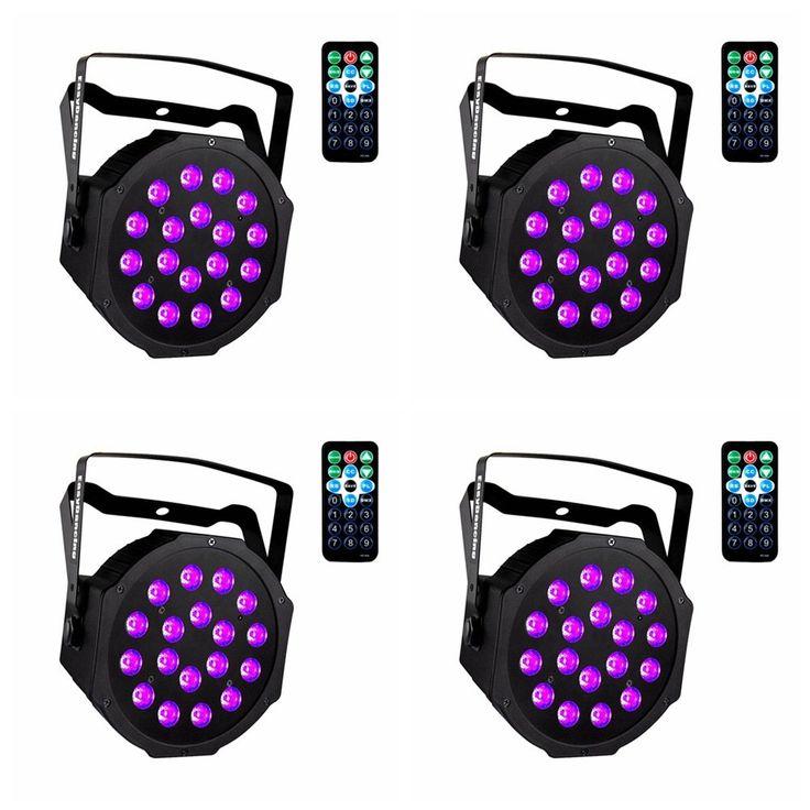 UV Black Lights with Remote 18x3W LED Par Lighting for Stage KTV Pub Club Dsico Show Party (4pcs)