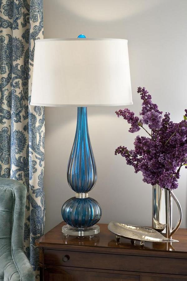 Venetian glass lamps; Murano glass lamps; beautiful vignette with cobalt blue Venetian glass lamp and lovely lilacs in a silver pitcher