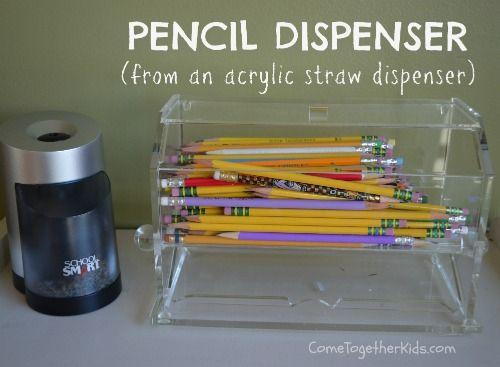 Pencil Dispenser from an acrylic straw dispenser ~ so smart!