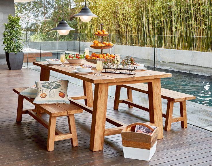 Mandara teak table with bench seats www.earlysettler.com.au