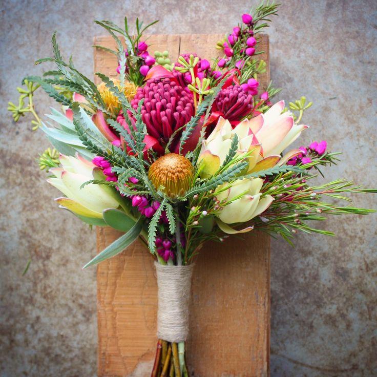 Native Spring Wedding Flowers - Flower Girls bouquet with waratah, dryandra, boronia, leucadendron and berzelia