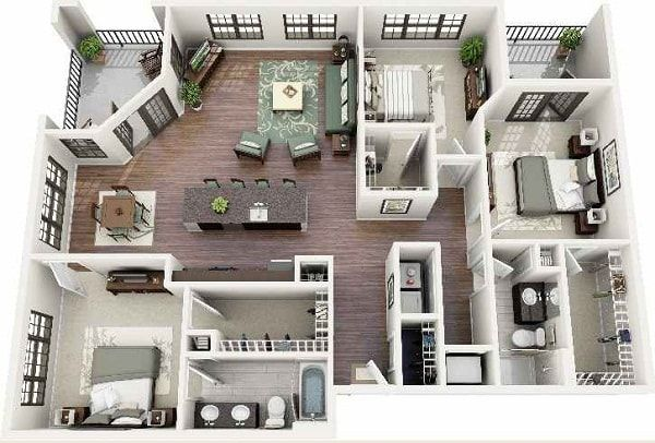 Denah Rumah Minimalis 3 Kamar 3d Paling Menarik Denah Rumah Rumah Minimalis Desain Rumah