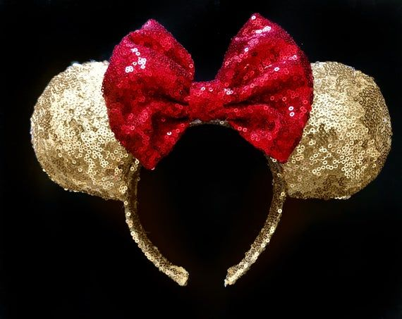 Beautiful Red Glitter Beauty and The Beast Bow inspired Gold Sparkle Minnie Mouse Headband Ears