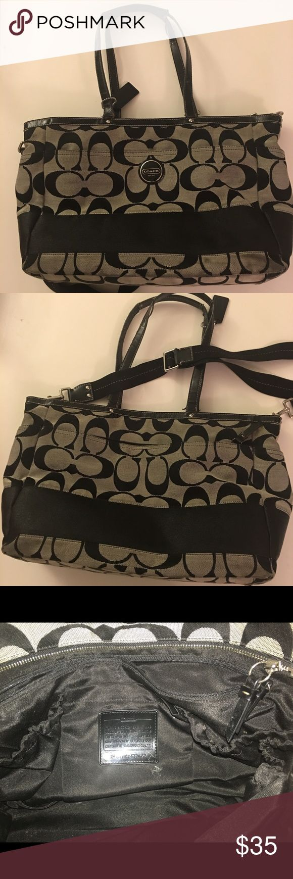 Authentic Coach Diaper bag Black Coach Diaper bag gently used. Over the shoulder strap, two handles and tons of storage and pockets. Coach Bags Baby Bags