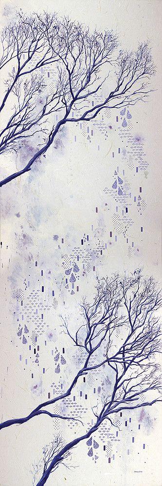 'Breathing Tree' 2016 Gouache on handmade Japanese unryushi paper, 61 x 180cm by Emma Jennings www.emmajennings.com.au