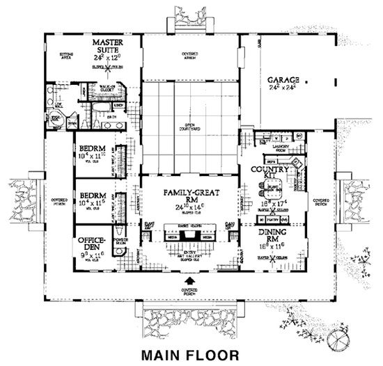 Nice floor plan hacienda spanish adobe style for Adobe house plans with courtyard