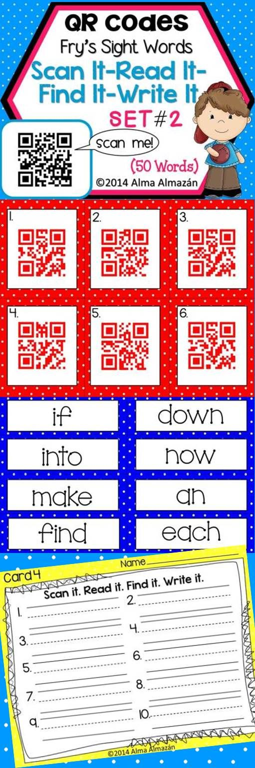 QR Codes Scan It-Read It-Find It-Write It- Fry Sight Words Set 2 Fun way to get kiddos to learn their sight words using technology in the classroom!  Created by Alma Almazan