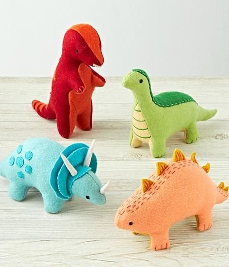 This collection of felt dinosaurs by Sabina Gibson has waited millions of years to roam your home. With a soft, wool felt body and contrasting embroidered stitching, these felt toys are sure to go down in prehistory. Choose from an adorable t-rex, triceratops, stegosaurus, or brachiosaurus that your little paleontologist is sure to love!