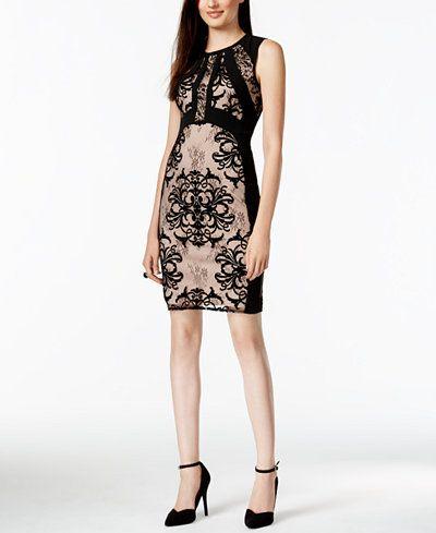 Ivanka Trump Lace-Combo Sheath Dress