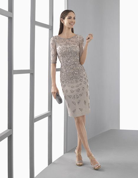 1T109 dress (Cocktail Length, Illusion, Sleeves, Elbow Length) from  Rosa Clara : Cocktail 2017, as seen on dressfinder.ca. Click for Similar & for Store Locator.