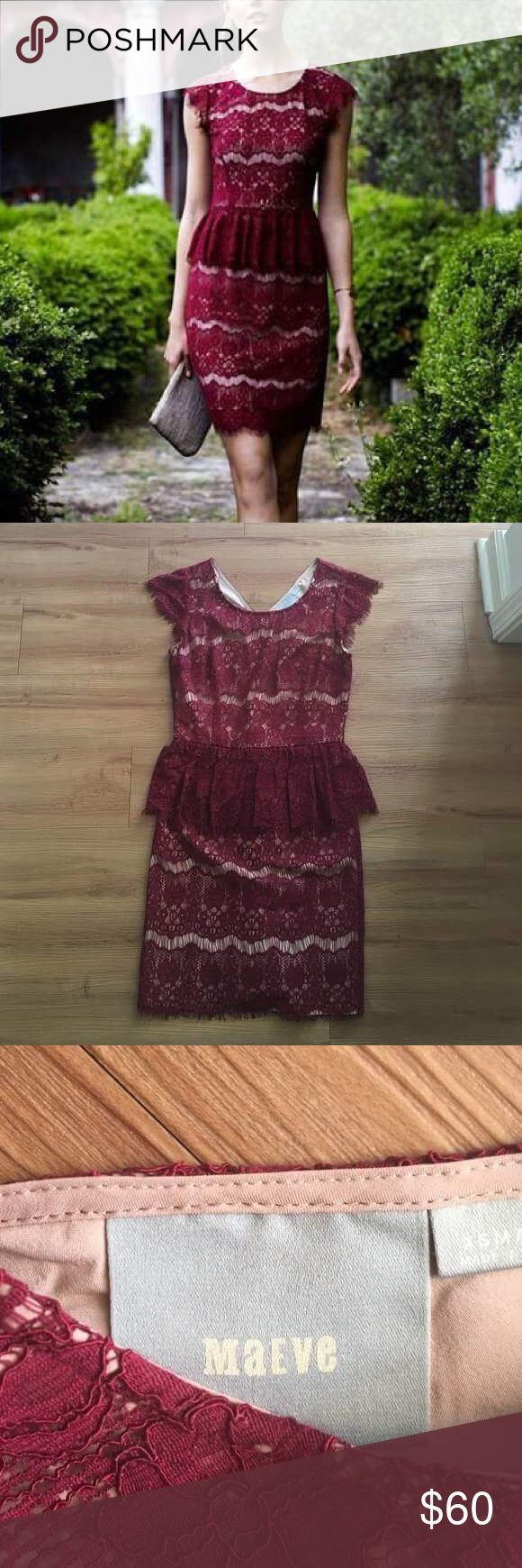 Anthropology Maeve Elsa Red Lace Peplum Dress Beautiful! Like new! Worn a handful of times. No defects in lace or fabric. Anthropologie Dresses Mini