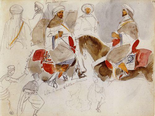 Delacroix moroccan watercolor sketches