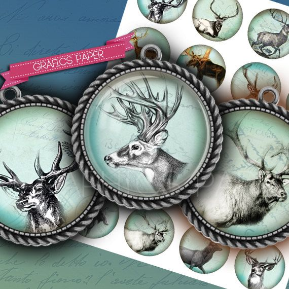 """Deer with horns - digital collage sheet - td124 - 1.5"""" 1.25"""" 30mm 1 inch circles magnet stickers craft Images pendant cabochon (3.43 EUR) by GraphicsPaper"""