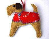 Felt Christmas ornament,Felt dog ornament,Dog Christmas Ornament,Handmade felt Airedale terrier,Fox terrier,Little felt dog with coat.