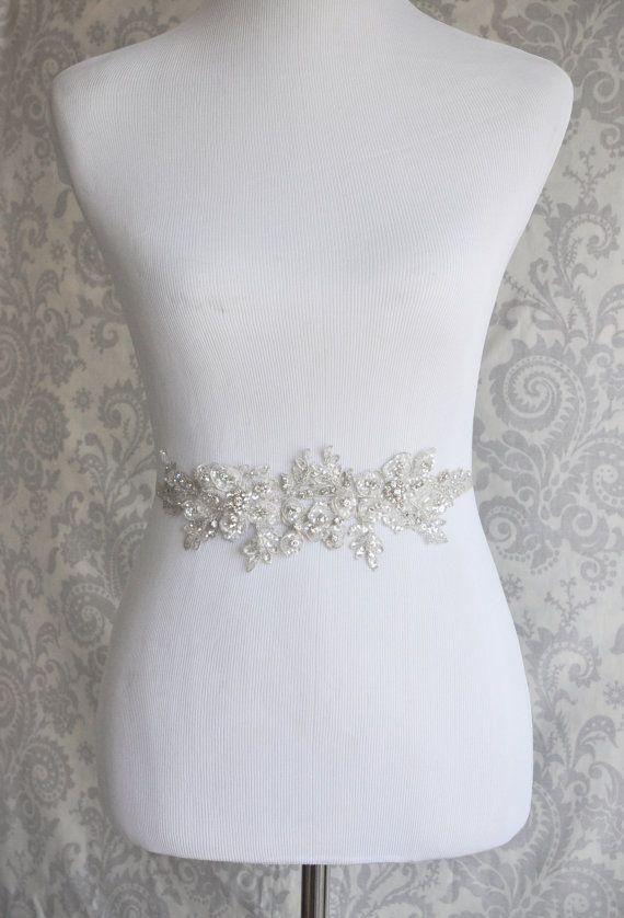 Crystal Sash, ceinture strass mariée dentelle florale, argent cristal mariage sash, ceinture nuptiale, accessoires de mariée - 102 s
