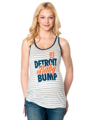 I want this! Detroit Tigers Side Ruched Maternity Tank Top