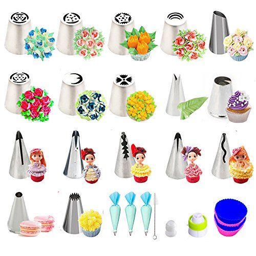 Russes Rose Douilles, Fleur Florable Poche à Douille Patisserie En Acier Inoxydable DIY Kits Réutilisable Pour pour cupcakes, Gâteaux,…