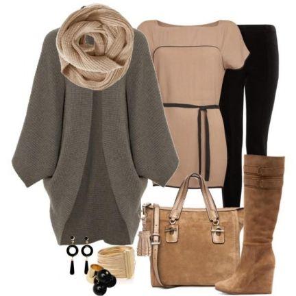 Практичный образ на холодную погоду: сумка и сапоги в тон, серый кардиган и модный шарф-хомут!