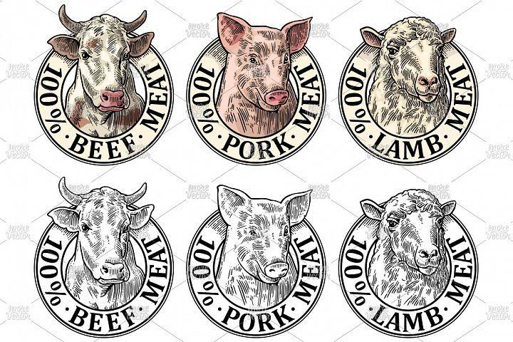 Cows, pig, sheep head. 100 percent beef pork lamb meat