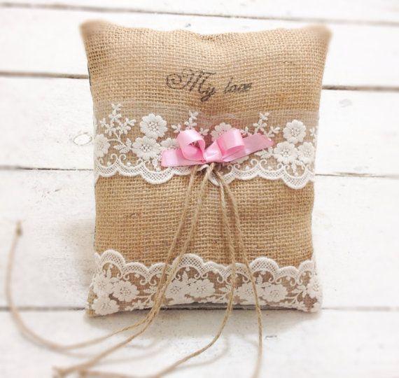 Burlap wedding ring bearer pillow rustic by AnitaHiltonweddings