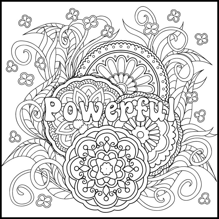 Positive Coloring Page Powerful Adult