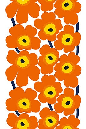 Marimekko Unikko fabric in Orange as table runner. Get one made to measure at Crate and Barrel right now! #modthksgivng