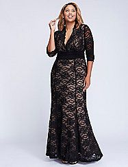 The red-carpet details earned this Kiyonna gown its name (like the scalloped surplice neckline, allover lace and subtle mermaid silhouette, to name a few). Sheer sleeves. Pull-over styling. Contrast lining. lanebryant.com