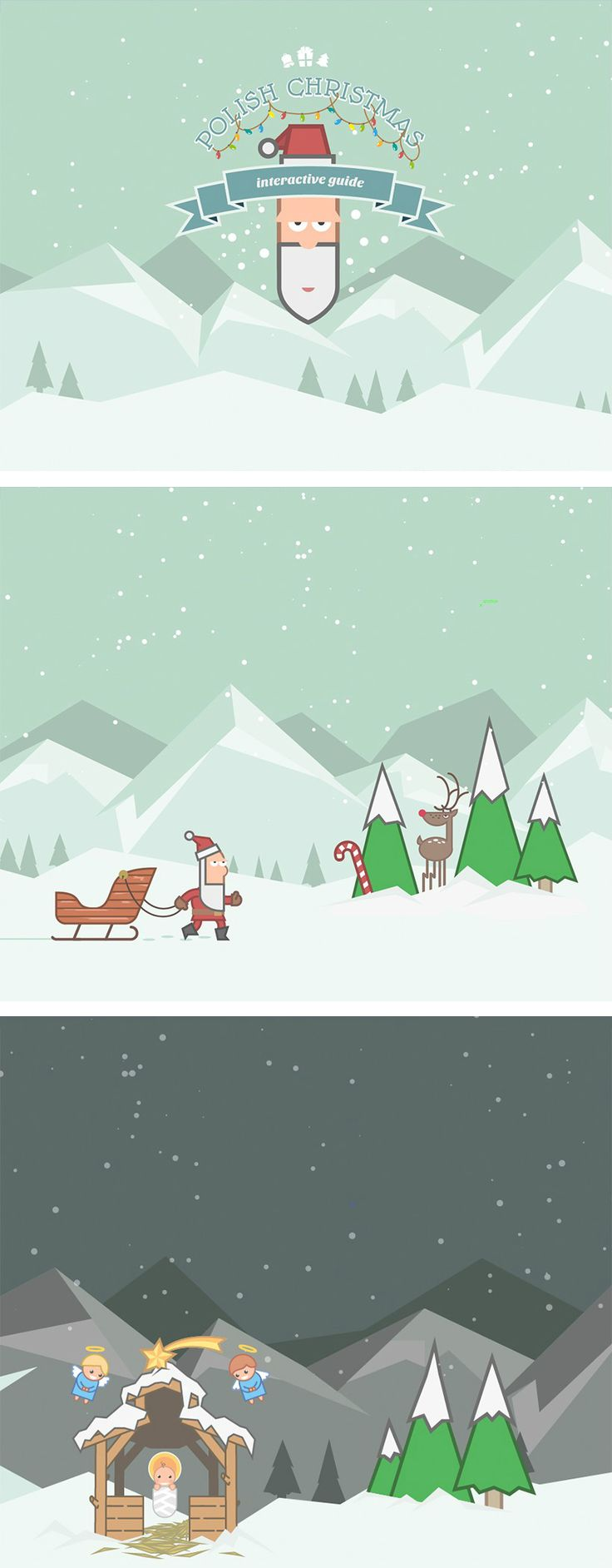 """We thought it's time to sprinkle a little unconventional Christmas card in 2014.  """"Polish Christmas: interactive guide"""" is a horizontal scrolling, visually rich, illustration-driven HTML5 journey explaining Christmas traditions in Poland. Our goal was to educate users (including our foreign clients) about traditional Polish Christmas celebrations. We've come up with a highly interactive and engaging scrolling site full of fun, SVG animated graphics. www.polishchristmasguide.com/"""