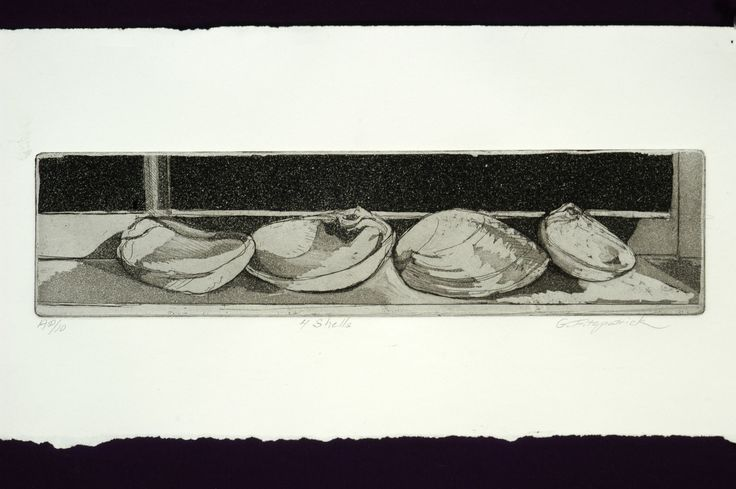 Original Fine art etching 4 shells by papermaker on Etsy