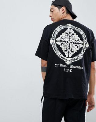 292ebff7 DESIGN oversized t-shirt with baroque back print | My Prints | Mens ...