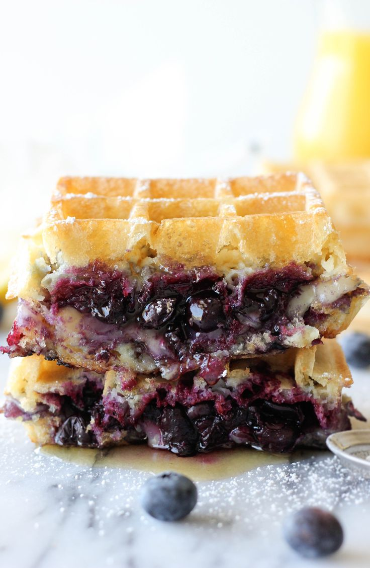 Brie and Blueberry Waffle Grilled Cheese // #brunch