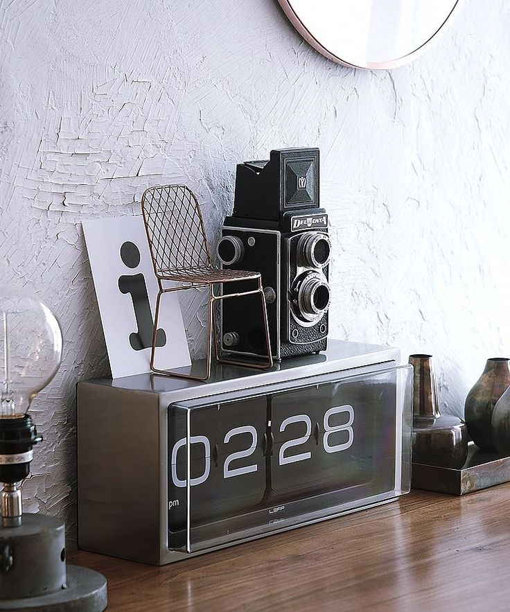 Leff Brick Wall/Desk Clock | Black | Harken back to #old #school cool with a fresh and modern twist on the #retro flip clock.