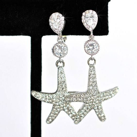 Handmade Clip-On CZ & Crystal Starfish Dangle Earrings