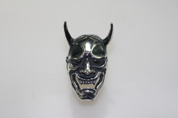 Sterling Silver 925 Hannya Noh Mask Brooch Pin by hannyahandcraft