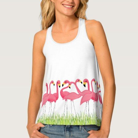 Cuban Flamingos Illustration Tank Top - click/tap to personalize and buy