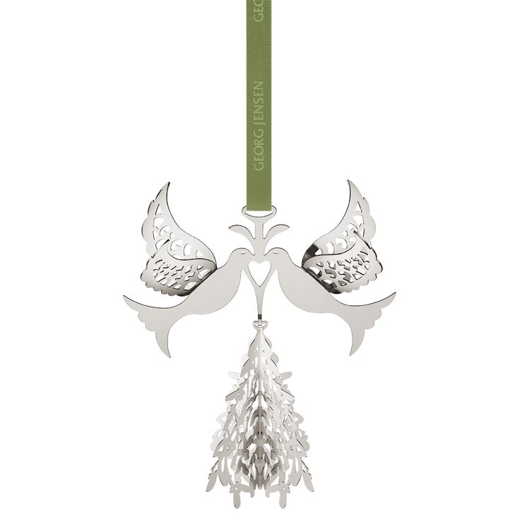 2014 Christmas Mobile Fir Tree and Doves, palladium plated