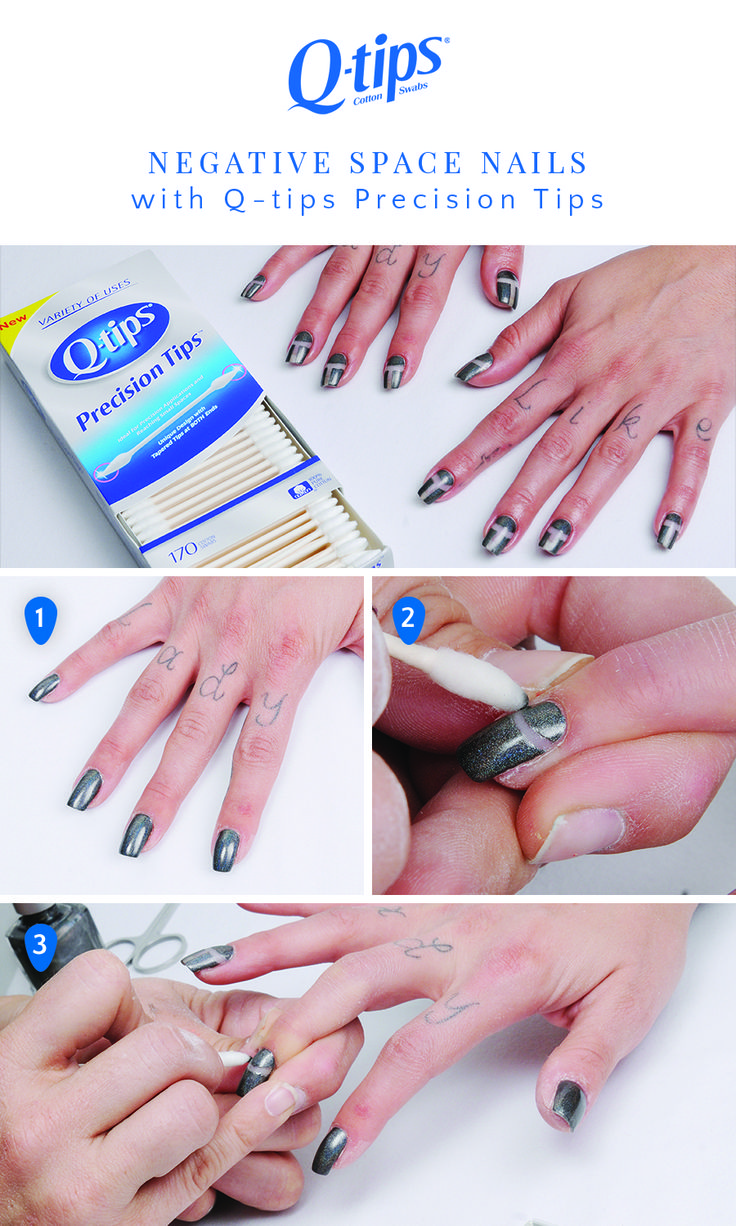 Paint nails with a metallic color. 2. Before the polish is completely dry,  dip a Q-tips Precision Tip ...