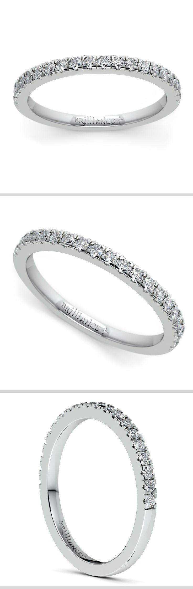 Twenty Round Cut Diamonds Are Pave Set In This Petite Pave Diamond Band In  Platinum