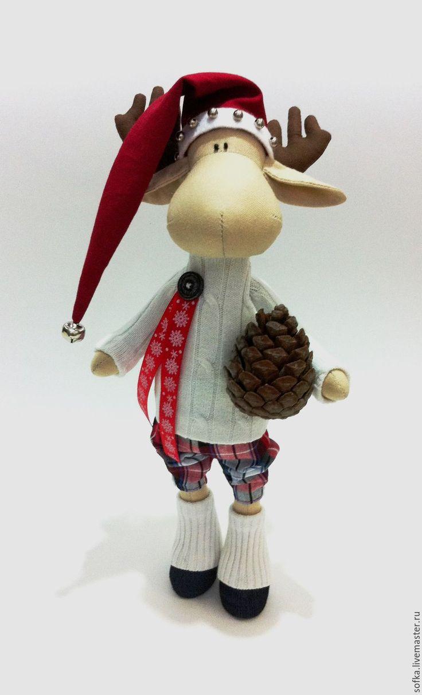 Купить Новогодний лосик с шишкой - белый, лось игрушка, лось Тильда, новогодний подарок