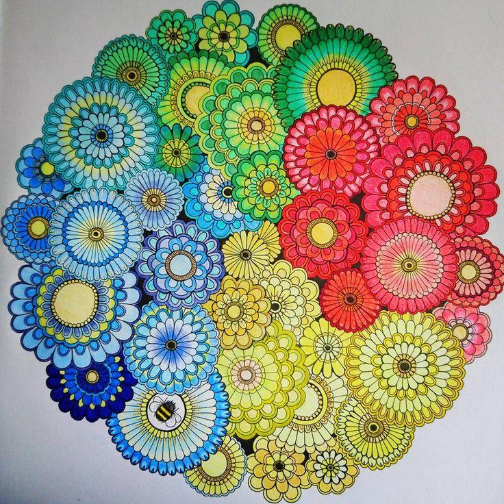 Color Pencil Art Flower Mandala Coloured Pencils Colouring Coloring Books Doodles Johanna Basford Daisy Flowers Secret Gardens