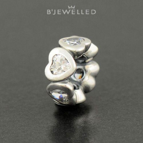 Authentic Genuine Pandora Silver Sparkling Heart Spacer Clear CZ - 791252CZ