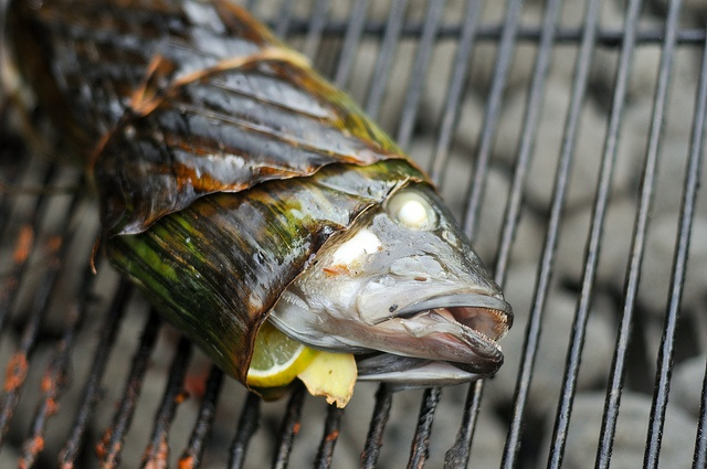 Grilled Vietnamese Stuffed Bass Wrapped in Banana Leaf Recipe
