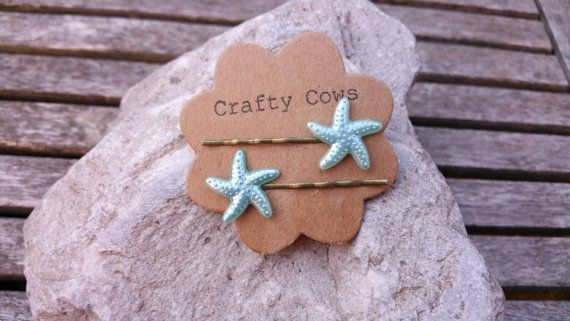 Blue starfish hair slides  mermaid accessories by TheCraftyCowShed