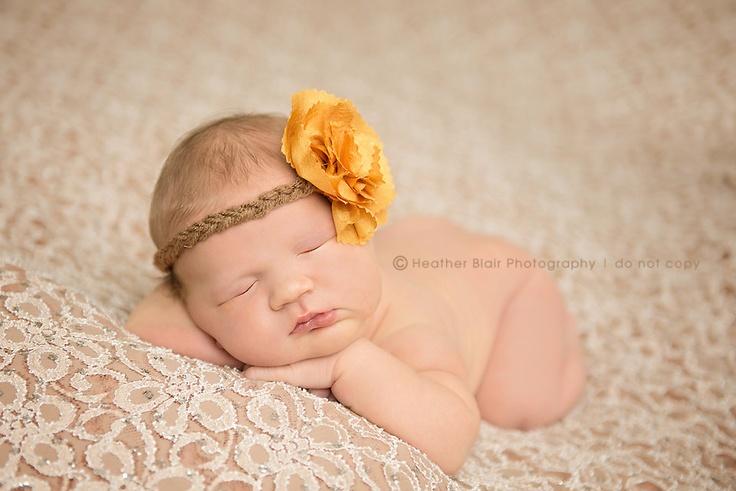 Gold Flower Headband - Hippie Tie Back  Newborn Halo. $11.00